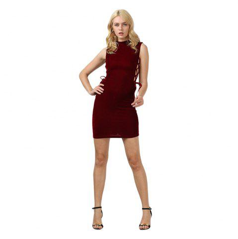 Cheap Sexy Stand Collar Hollow Out Lace-up Zipper Velvet Dress for Women - XL PURPLISH RED Mobile