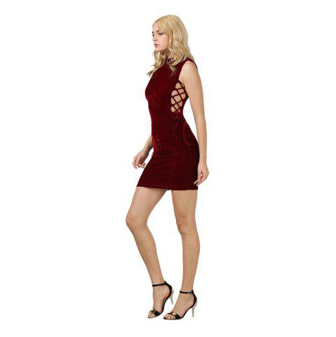 Shop Sexy Stand Collar Hollow Out Lace-up Zipper Velvet Dress for Women - XL PURPLISH RED Mobile