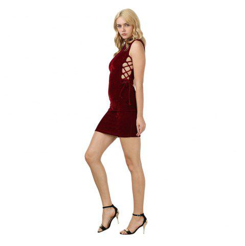 Chic Sexy Stand Collar Hollow Out Lace-up Zipper Velvet Dress for Women - XL PURPLISH RED Mobile
