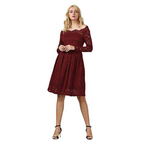 Store Elegant Long Sleeve Slash Neck Hollow Out Lace Dress for Women - L DEEP RED Mobile