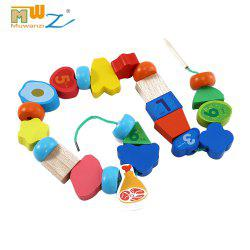 Muwanzi Wooden Beaded Toys Colorful Mini Building Blocks for Toddler
