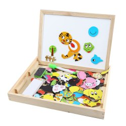 Muwanzi Wooden Puzzle Multifunctional Drawing Board Intelligence Game Toys for Children
