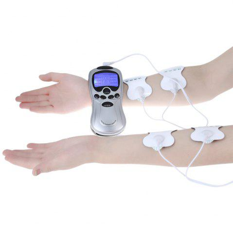 Trendy 4 Electrode Health Care Tens Acupuncture Electric Therapy Massage Machine Pulse Body Slimming Sculptor Apparatus SILVER EU PLUG