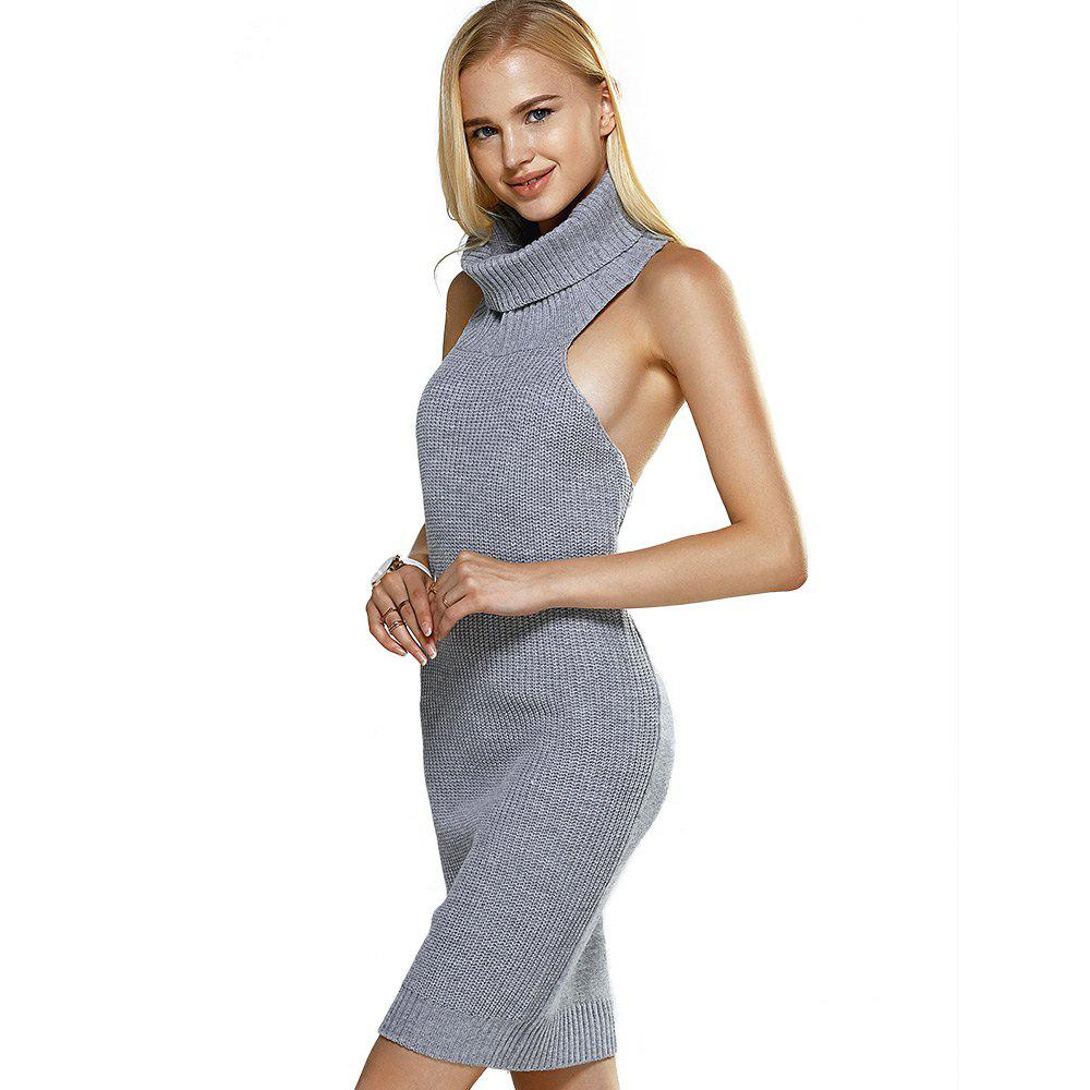 b279c3a19c 31% OFF  Sexy Turtleneck Backless Color Knitted Women Mini Dress ...