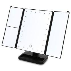 Angle Adjustable Three Sides Foldable LED Dimmable Makeup Table Mirror -