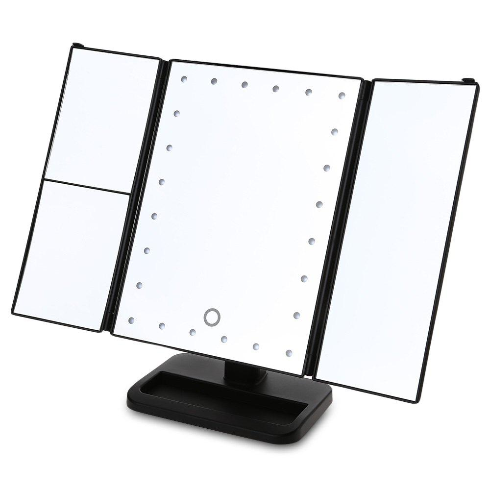 Sale Angle Adjustable Three Sides Foldable LED Dimmable Makeup Table Mirror