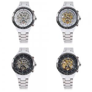 Gucamel G055 Men Auto Mechanical Watch Luminous Hollow Dial Stainless Steel Band Wristwatch - STEEL BAND/GOLD DISPLAY/WHITE DIAL
