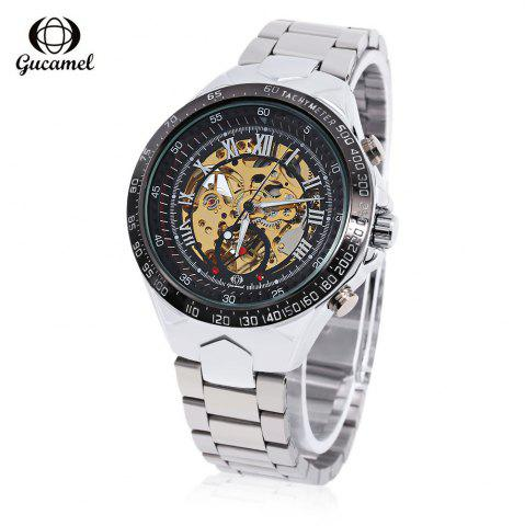 Fancy Gucamel G055 Men Auto Mechanical Watch Luminous Hollow Dial Stainless Steel Band Wristwatch - STEEL BAND+BLACK DIAL  Mobile