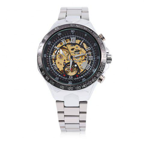 Best Gucamel G055 Men Auto Mechanical Watch Luminous Hollow Dial Stainless Steel Band Wristwatch - STEEL BAND+BLACK DIAL  Mobile