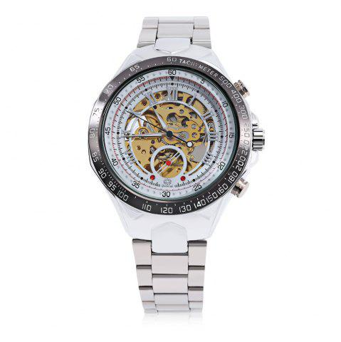 Online Gucamel G055 Men Auto Mechanical Watch Luminous Hollow Dial Stainless Steel Band Wristwatch - STEEL BAND+GOLD DISPLAY+WHITE DIAL  Mobile