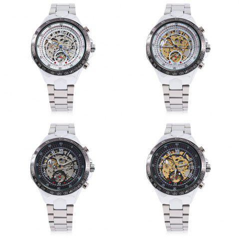 Discount Gucamel G055 Men Auto Mechanical Watch Luminous Hollow Dial Stainless Steel Band Wristwatch - STEEL BAND+GOLD DISPLAY+WHITE DIAL  Mobile