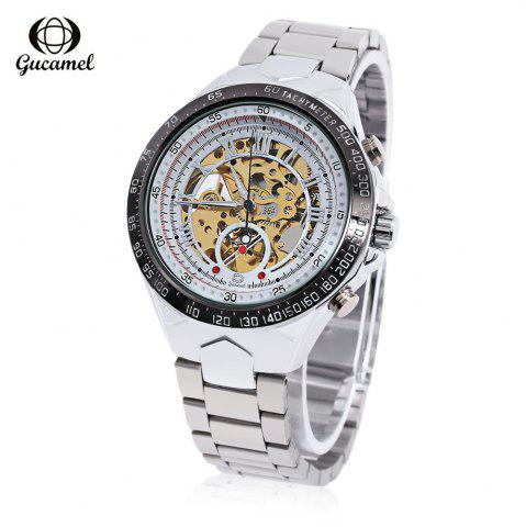 Outfit Gucamel G055 Men Auto Mechanical Watch Luminous Hollow Dial Stainless Steel Band Wristwatch STEEL BAND/GOLD DISPLAY/WHITE DIAL