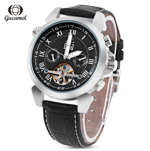 Gucamel GC038 Men Auto Mechanical Watch Tourbillon Date Luminous Leather Band Wristwatch - Black Leather Band+silver Case+black Dial