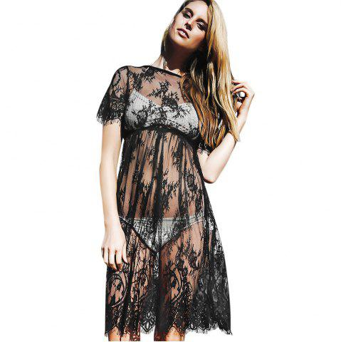 Fashion Sexy Round Neck Short Sleeve See-through Pure Color Lace Beach Dress - S BLACK Mobile