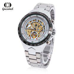 Gucamel G055 Men Auto Mechanical Watch Luminous Hollow Dial Stainless Steel Band Wristwatch