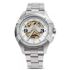 Gucamel G016 Men Auto Mechanical Watch Hollow Dial Luminous Stainless Steel Band Wristwatch - STEEL BAND/GOLD DISPLAY/WHITE DIAL