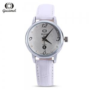 Gucamel BL061 Women Quartz Watch Rhinestone Date Display Leather Band Wristwatch