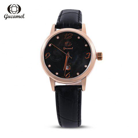 Gucamel BL061 Women Quartz Watch Rhinestone Date Display Leather Band Wristwatch - Black Leather Band+gold Dial
