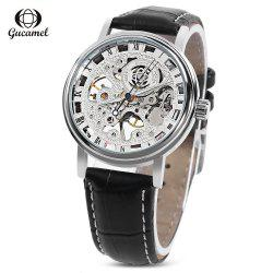 Gucamel G045 Men Auto Mechanical Watch Hollow Dial Luminous Leather Band Wristwatch