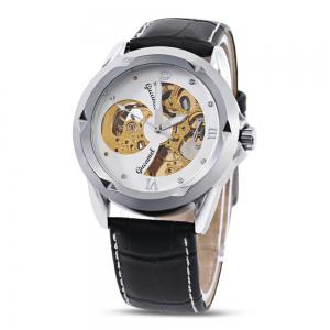 Gucamel G013 Men Auto Mechanical Watch Hollow Dial Luminous Leather Band Wristwatch - BLACK LEATHER BAND/GOLD CASE/WHITE DIAL
