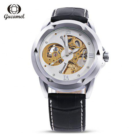 Fashion Gucamel G013 Men Auto Mechanical Watch Hollow Dial Luminous Leather Band Wristwatch BLACK LEATHER BAND/GOLD CASE/WHITE DIAL