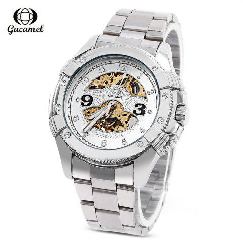 Gucamel G016 Men Auto Mechanical Watch Hollow Dial Luminous Stainless Steel Band Wristwatch - Steel Band+gold Display+white Dial - 44
