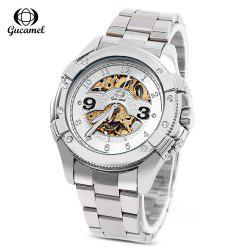 Gucamel G016 Men Auto Mechanical Watch Hollow Dial Luminous Stainless Steel Band Wristwatch - STEEL BAND+GOLD DISPLAY+WHITE DIAL