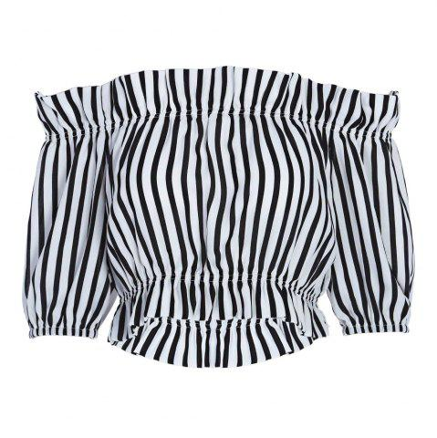 Outfits Trendy Off The Shoulder Short Sleeve Vertical Stripe Crop Top for Women