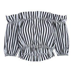 Trendy Off The Shoulder Short Sleeve Vertical Stripe Crop Top for Women