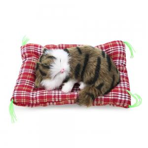Simulation Animal Sleeping Cat Craft Toy with Sound - IMPRINTE DE COULEUR D'HERBE