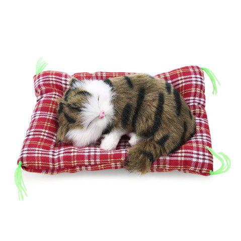 Trendy Simulation Animal Sleeping Cat Craft Toy with Sound - GRASS COLOR PRINTING  Mobile