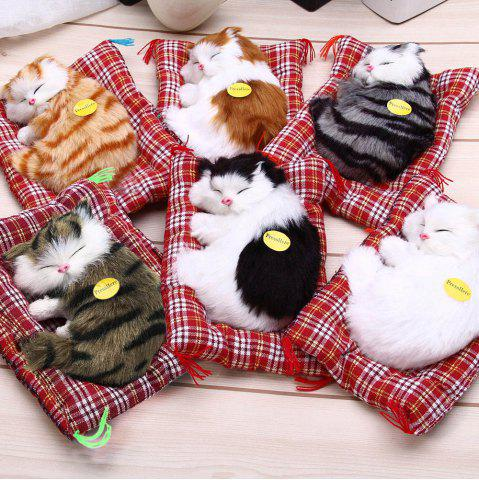 Shops Simulation Animal Sleeping Cat Craft Toy with Sound - WHITE  Mobile