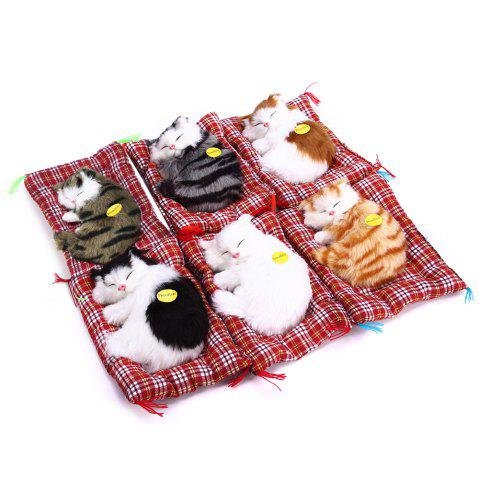 Trendy Simulation Animal Sleeping Cat Craft Toy with Sound - WHITE  Mobile