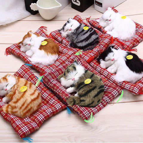 New Simulation Animal Sleeping Cat Craft Toy with Sound - WHITE  Mobile