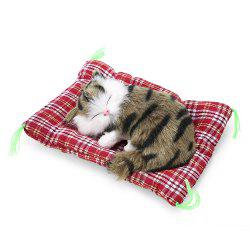 Simulation Animal Sleeping Cat Craft Toy with Sound - GRASS COLOR PRINTING