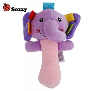 Sozzy Cartoon Plush Baby Handbell Toy - Colormix - Elephant