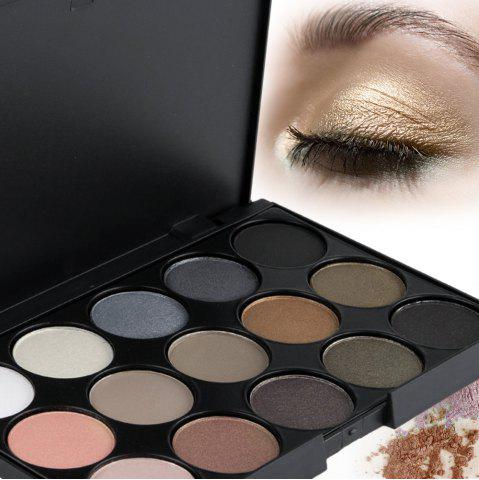 Fancy Natural 15 Colors Long Lasting Pearly Eyeshadow Palette - JET BLACK 01#  Mobile