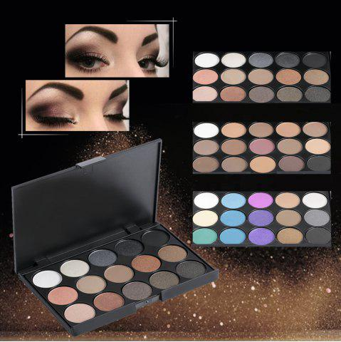 Shop 15 Colors Girl Makeup Natural Eye Shadow Palette with Brush - BLACK 02#  Mobile