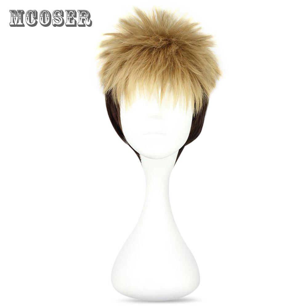 Mcoser High Temperature Short Straight Full Bang Shaggy perruque Anime à deux tons