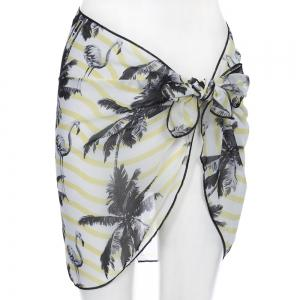 Sexy Print Chiffon Mini Pareo Beach Wrap Skirt for Women