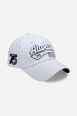 Casual Letter Print Hip-hop Sun Protection Baseball Hat for Unisex - White - M