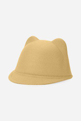 Buy Fashionable Cat Ear Design Solid Color Top Hat for Unisex CAMEL 52CM