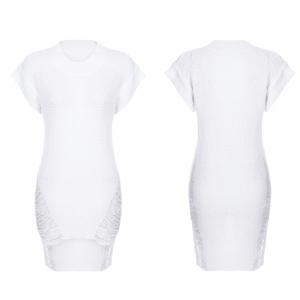 Sexy Round Collar Short Sleeve Ripped Asymmetric Knitted Women Dress -
