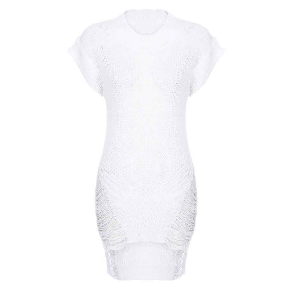 Fashion Sexy Round Collar Short Sleeve Ripped Asymmetric Knitted Women Dress