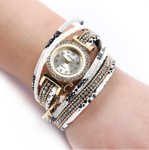 Hot FULAIDA Women Quartz Watch Leather Band Tassel Decoration Rhinestone Wristwatch - WHITE  Mobile