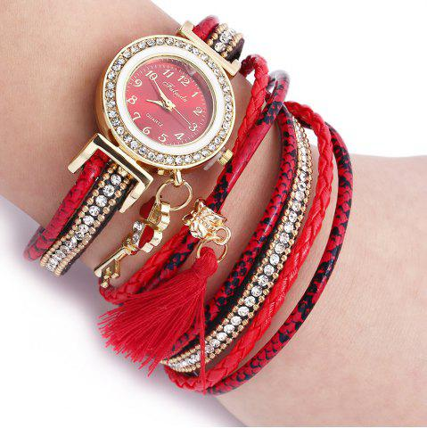 Best FULAIDA Women Quartz Watch Leather Band Tassel Decoration Rhinestone Wristwatch