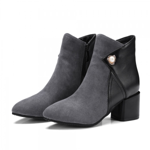 Fashion Women Pointed Toe Chunky Heel with Pearl Zip Ankle Boots -