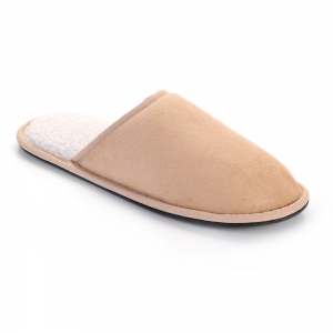 Men Mirco Fabric House Slippers Lining TPR Outsole - CAPPUCCINO 41