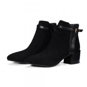 Fashion Women Pointed Toe Chunky Heel with Zip Buckle Ankle Boots - BLACK 39