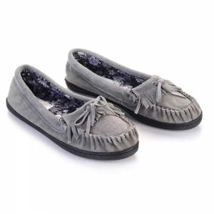 Women Suede Moccasins Floral Printing Fabric Lining TPR Outsole -